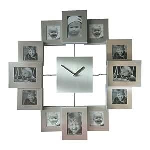 wanduhr silber mit 12 bilderrahmen. Black Bedroom Furniture Sets. Home Design Ideas