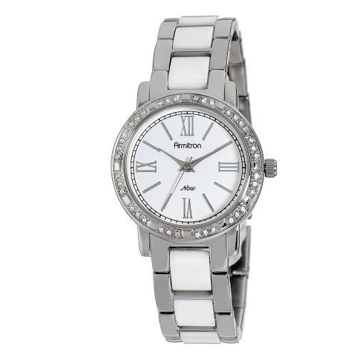 Armitron NOW Women's 75/3878WTSV Swarovski Crystal Accented Silver-Tone and White Ceramic Watch