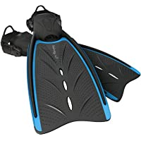 New AERIS Velocity X3 Open Heel Scuba Diving & Snorkeling Fins with Spring Heel Strap- Light Blue (Size X-Large-2X-Large-12+)