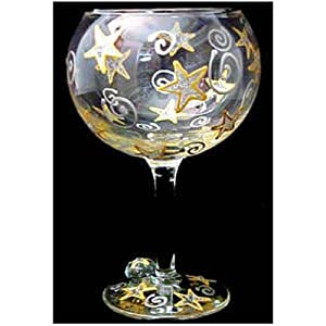 Wishing on the Stars Design - Hand Painted - Grande Goblet - 17.5 oz..