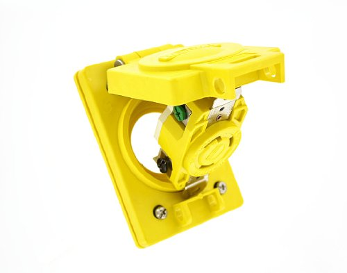 Leviton 69W47 30-Amp, 125 Volt, Flush MTG Locking Receptacle, Industrial Grade, Grounding, Wetguard with Cover, Yellow