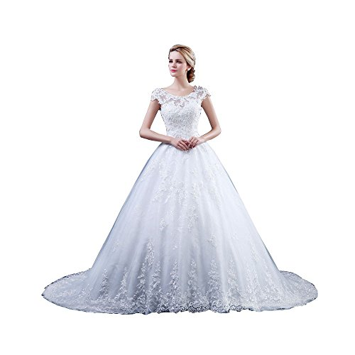 9344f49d Weimansi Women's Crepe Crew with Lace Ball Gown Long Dress lvory Size US 10