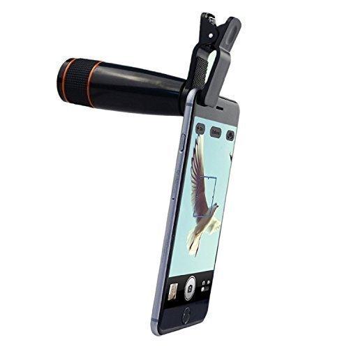 FLK Universal Smartphone 12X Zoom Magnifier Optical Telescope Manual Focus Telephoto Mobile Phone Camera Lens with Retractable Mini Tripod Mount Sta