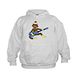 CafePress Sock Monkey Blue Guitar Kids Hooded Sweatshirt Kids Hoodie