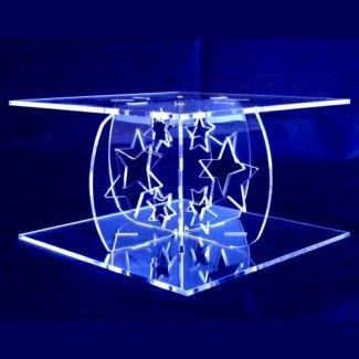 Clear Stars Design Single Tier Square Cake Stand - Base 30 cm, Top 28 cm цена и фото