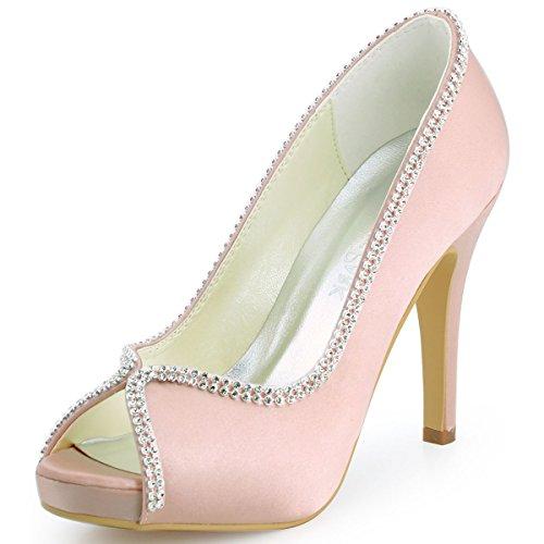 ElegantPark EP11083-IP Women's Peep Toe Stiletto High Heel Rhinestones Satin Evening Party Pumps Pink US 8