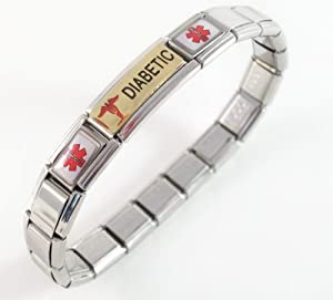 Diabetic Medical Id Alert Italian Charm Bracelet Diabetes Gold