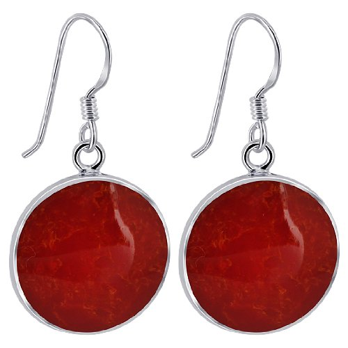 EMES042 Sterling Silver 17mm Round Simulated Coral French Ear Wire Dangle Earrings