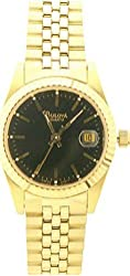 Gold Tone Stainless Steel Dress Black Dial Date
