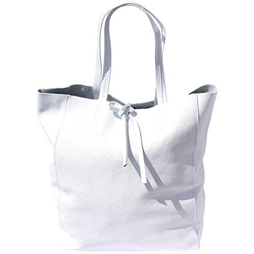 SHOPPING BAG CON LACCETTO IN PELLE 9121 (Bianco)