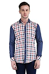 BRAVEZI Men's Orange Checkered Casual Slim Fit Shirt