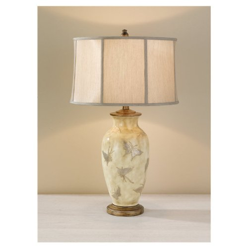 Murray Feiss Lighting 9918SPB/AS One Light Table Lamp, Silver Pearl with Butterflies/Antique Silver Finish with Champagne Silk Fabric Shade