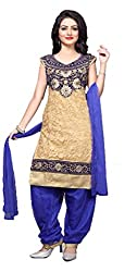 Home Deal New Lauanch Beige And Blue RawSilk Embroidred Readymade Patiyala Dress Material