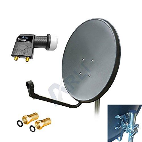 60 cm HD SAT Anlage Digitale GRAU TWIN LNB 4K 2 Teilnehmer Schüssel Antenne Spiegel