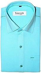 Tricon Men's Slim Fit Blended Plain Shirt (SS106_Turquoise_X-Large)