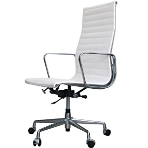 charles eames ea119 thin pad office chair in white leather