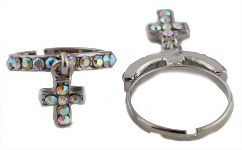 Ladies Silver with Clear AB Stones Iced Out Dangle Cross Adjustable Finger Ring