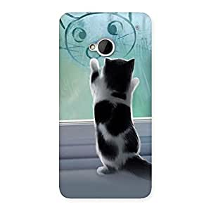 Ajay Enterprises Fill Cute Kitty Face Print Back Case Cover for HTC One M7