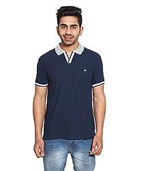 Le Bon Ton Men's Cotton Blend T-Shirt (AMZ_AMP_067_Navy_Medium)