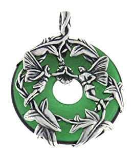 Sterling Silver Fairy Couple Loving Fairies Family on Deep Emerald-Green Glass Donut Slide Pendant