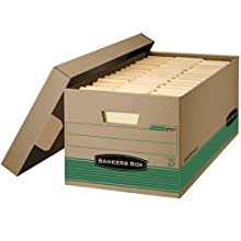 Bankers Box Stor/File 100% Recycled Medium-Duty Storage Boxes with Lift-Off Lid, Letter, 12 Pack (1270101)