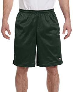 Champion 3.7 oz. Long Mesh Shorts with Pockets L ATHLETIC DARK GREEN