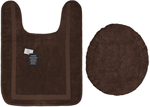 CLOSOUT SAVINGS! Eco-Friendly 100% Turkish Cotton Bathroom Rug Set - (Contour Toilet Rug and Matching Seat Lid Cover) 2 Piece Set - Chocolate (Elongated Toilet Lid Cover Brown compare prices)