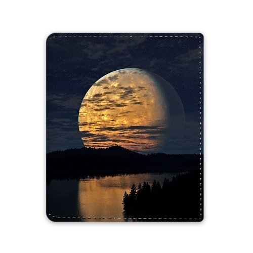 Anhome Big Round Moon Fall Off Forest River Custom Leather Wallet front-904067
