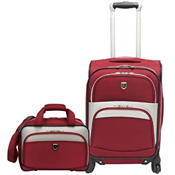 Travelers Choice Luggage Beverly Hills Country Club 2-Piece Carry-On Spinner Set, Red, Regular