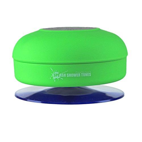 Splash Shower Tunes By Freshetech - Waterproof Bluetooth Wireless Shower Speaker Portable Speakerphone (Green)