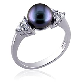 Infinite Beauty Sterling Silver Dress Ring with Gray Cultured Pearl and CZ Diamond
