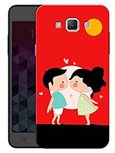"""Humor Gang Cute Couple Kissing Cartoon Printed Designer Mobile Back Cover For """"Samsung Galaxy j7"""" (3D, Matte, Premium Quality Snap On Case)"""