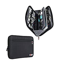 BUBM Nylon Waterproof Portable Electronics and Electronic Accessories Travel Case Travel Organizer Drive Case Cosmetic Purse Portable Drive Case Small Bag Case for Electronics by BUBM