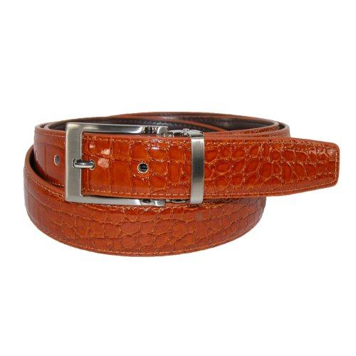 CTM® Mens Big & Tall Leather with Clamp On Buckle Croc Print Dress Belt, 44, Tan