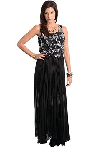 Abstract Print Pleated Chiffon Maxi Dress