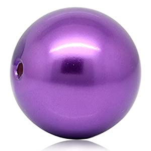 Housweety 5 Violett Acryl Spacer Perlen Beads 29mm D.