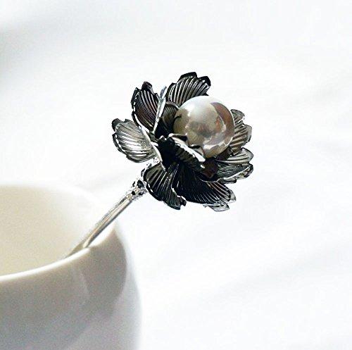 上品 大粒パールビーズ と小花の かわいい 金属製 一本かんざし 簪