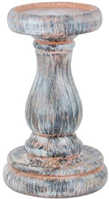 Kiera Grace Spooled Wood Pillar Candle Holder with Weathered Look Finish, 3.5 by 5.75-Inch