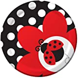 Creative Converting Ladybug Fancy Round Dessert Plates, 8-Count