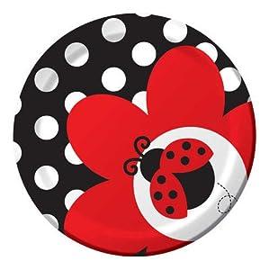 Creative Converting Ladybug Fancy Round Dessert Plates, 8-Count