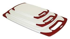 ZUCCOR 3 Piece Venice Cutting Board Set (RED)