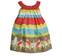 Bonnie Jean Girls 2-6X Stripe Bird Border Print Dress, Multi, 2T