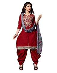 Desi Look Women's Red Cotton Patiyala Dress Material With Dupatta