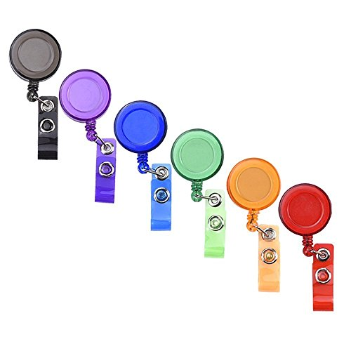 Translucent Retractable Badge Reels Card Reel with Belt Clip for ID Badge Holders, Assorted Colors 6 Pieces