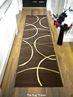 Retro Modern Hall Runner 9255 823 Brown 60cm x 230cm from Rug Trader