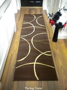 Retro Modern Hall Runner 9255 823 Brown 60cm x 230cm from Rug Trader