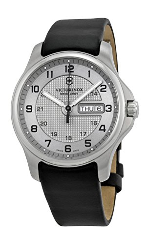 swiss-army-classic-officers-stainless-steel-gmt-mens-strap-watch-silver-dial-calendar-241550