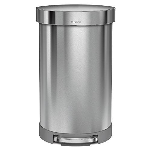 simplehuman 40 liter semi round step trash can in fingerprint proof brushed s dealtrend. Black Bedroom Furniture Sets. Home Design Ideas