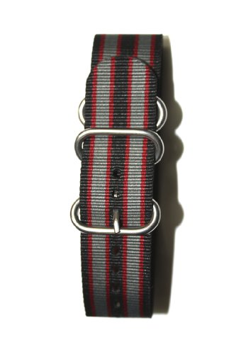 24mm Gray/Black/Red Military Strap with S/S Heavy Buckle. Great to Attach to Any Timepiece.