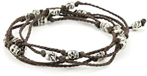 M.Cohen Handmade Designs Multi-Wrap with Sterling Silver Skulls on Knotted Wax Cord